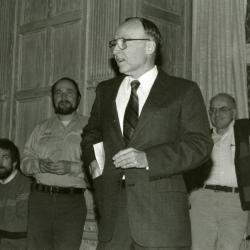 Clarence E. Godshalk's 90th birthday celebration scrapbook: Marion Hall greeting Clarence Godshalk and acknowledges his outstanding contribution to The Morton Arboretum