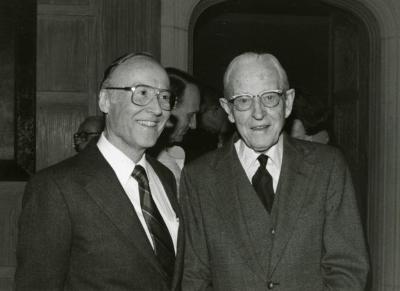 Clarence E. Godshalk's 90th birthday celebration scrapbook: Marion Hall with Clarence Godshalk