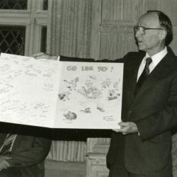 Clarence E. Godshalk's 90th birthday celebration scrapbook: Marion Hall displaying birthday card