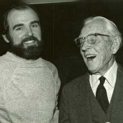 Clarence E. Godshalk's 90th birthday celebration scrapbook: Tony Byrne with Clarence Godshalk