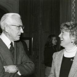 Clarence E. Godshalk's 90th birthday celebration scrapbook: Clarence Godshalk talking with Karla Lynch