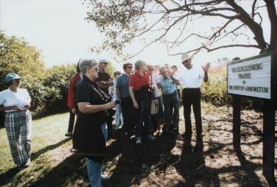 Bob Betz leading group tour of Schulenberg Prairie