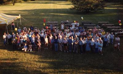 Staff picnic, group photo on lawn behind the Thornhill Education Center