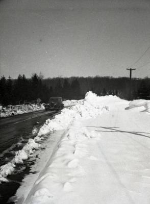 Car driving along Arboretum road in winter