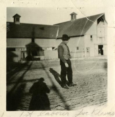 Joe Klavas looking north in South Farm courtyard