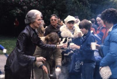 Twilight Tree Walk, Helen Langrill and Nancy Hart serving sassafras tea to crowd