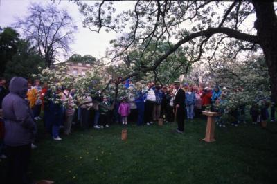 Twilight Tree Walk, Craig Johnson dressed as Joy Morton, speaking to crowd