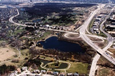 Aerial view of Arboretum and surrounding area
