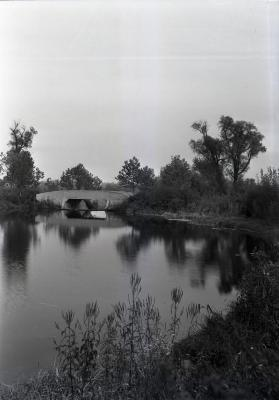 Lake Marmo, looking east to bridge and dam from south shore