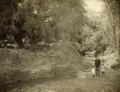 Joy Morton II & Helen with their father, Mark Morton, in North Table Creek