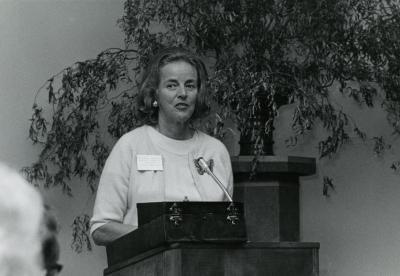 Suzette Morton Davidson at podium in Thornhill Audubon Room (Auditorium)