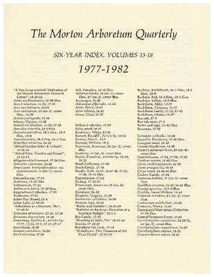 The Morton Arboretum Quarterly V. 13-18 Index