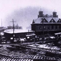 Morton Salt Company Building, railroad tracks in front