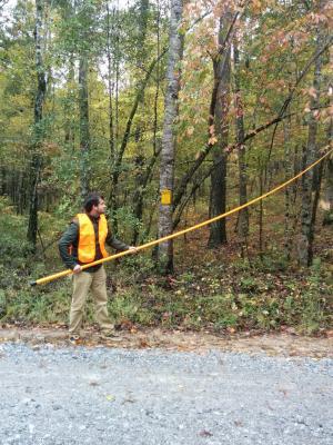 Ethan Kauffman collecting seed in Alabama