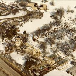 Aerial view of South Farm, Administration Building, and Visitor Center in winter