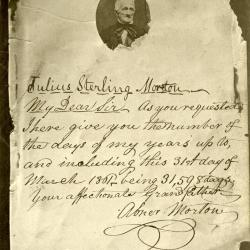 Letter to J. Sterling Morton from Abner Morton