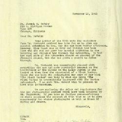 1940/11/13: Clarence E. Godshalk to Joseph M. Cudahy