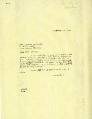 1940/02/24: Clarence E. Godshalk to Jean M. Cudahy