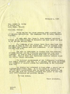 1940/02/01: E. Lowell Kammerer to Jean M. Cudahy