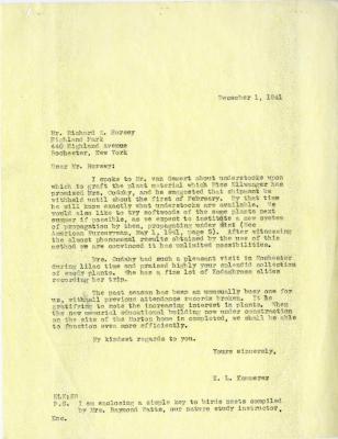 1941/12/01: E. L. Kammerer to Richard E. Horsey