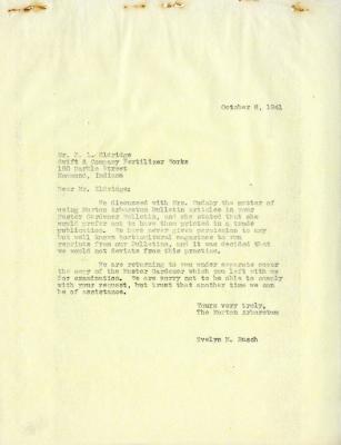 1941/10/08: Evelyn M. Rasch to F.L Eldridge, Smith & Co. Fertilizer Works