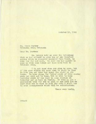 1941/10/18: Clarence E. Godshalk to Grove Porter