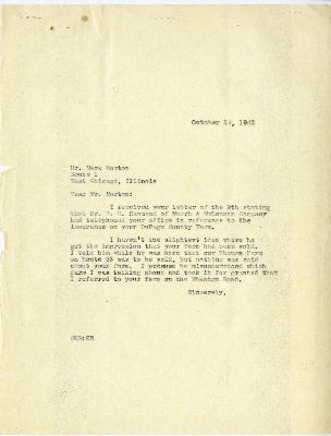 1942/10/12:  Clarence Godshalk to E. G. Hammond