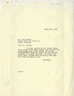 1942/08/10: C. E. Godshalk to Mark Morton