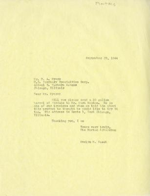 1944/09/29: Evelyn M. Rasch to H. A. Myers