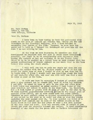 1942/07/23: C. E. Godshalk to Mark Morton