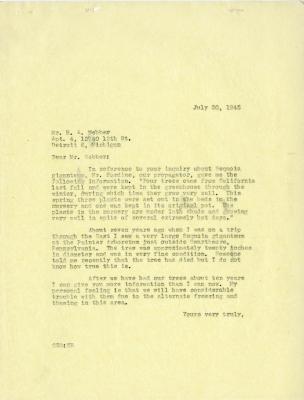 1945/07/30: C. E. Godshalk to H. A. Webber