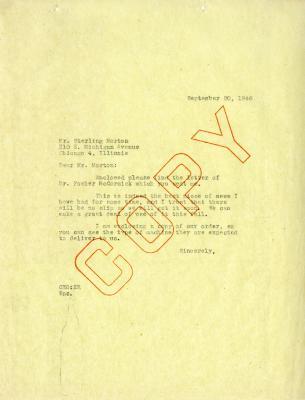 1946/09/20: C. E. Godshalk to Sterling Morton