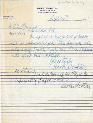 [1946]/09/14: Mark Morton to Frank Herrick