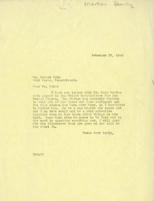 1946/02/27: C. E. Godshalk to Robert Pyle
