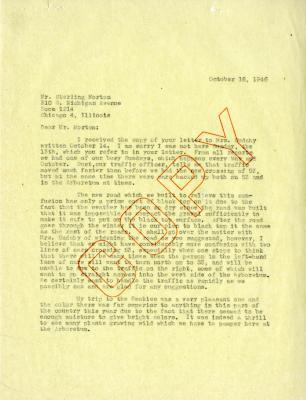 1946/10/18: C. E. Godshalk to Sterling Morton