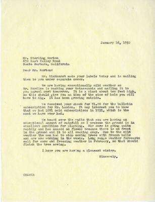1952/01/16: C. E. Godshalk to Sterling Morton