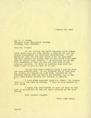 1945/10/30: C. E. Godshalk to N. C. Abbott