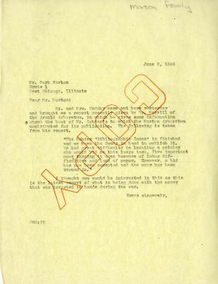 1946/06/08: C. E. Godshalk to Mark Morton