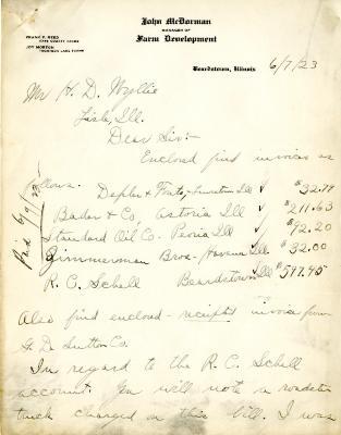1923/06/07: John McDormand to H. D. Wyllie