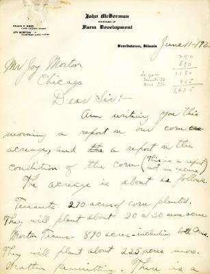 1923/06/11: John McDorman to Joy Morton