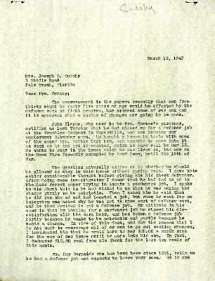 1943/03/15: Clarence E. Godshalk to Jean M. Cudahy