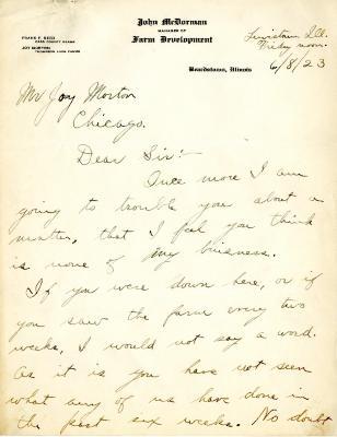 1923/06/08: John McDorman to Joy Morton