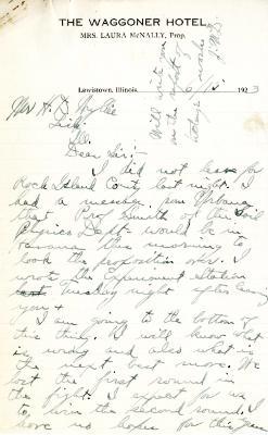 1923/06/15: John McDorman to  H. D. Wyllie