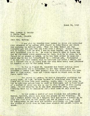 1943/03/30: Clarence E. Godshalk to Jean M. Cudahy
