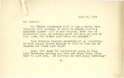 1923/06/15: B. to Mr. Morton