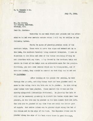 1924/07/30: O. C. Simonds to Joy Morton