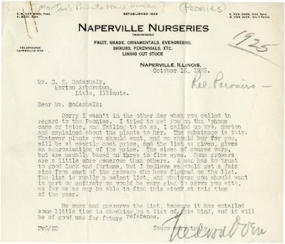 1925/10/16: F. W. von Oven to C. E. Godschalk