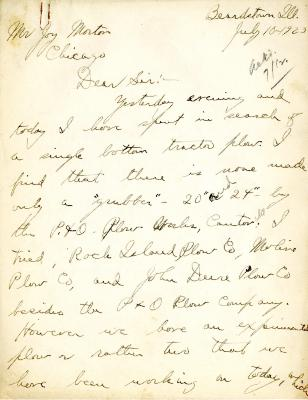 1923/07/10: John McDorman to Joy Morton
