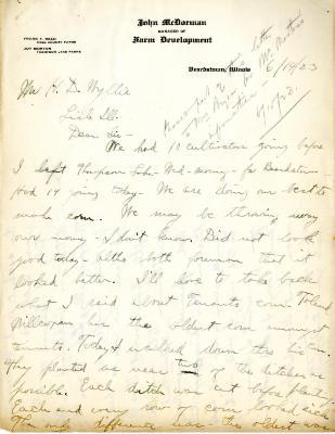 1923/06/14: John McDorman to H.D. Wyllie