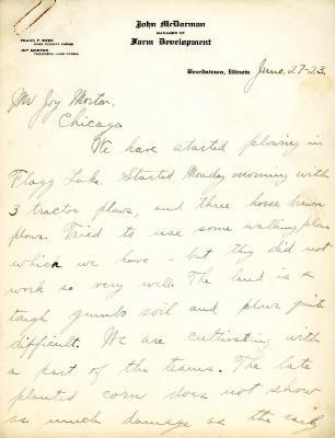1923/06/27: John McDorman to Joy Morton